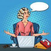 Photo Pop Art Stressed Business Woman with Laptop at Multi Tasking Office Work. Vector illustration