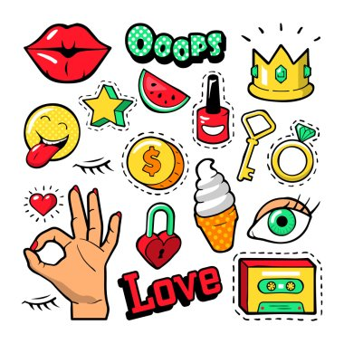Fashion Badges Set with Patches, Stickers, Lips, Heart, Star, Hand in Pop Art Comic Style. Vector illustration