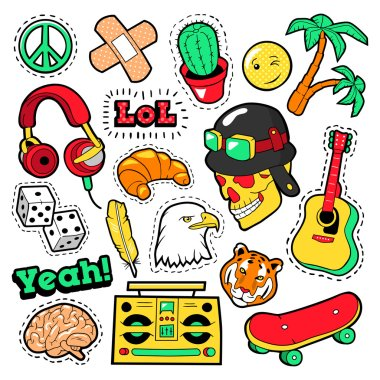 Fashion Badges, Patches, Stickers set with Hippie Elements, Skateboard, Peace Sign, Guitar and Palms in Pop Art Comic Style. Vector illustration