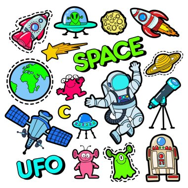 Fashion Badges, Patches, Stickers set with Space, UFO, Robots and Funny Aliens in Pop Art Comic Style. Vector illustration