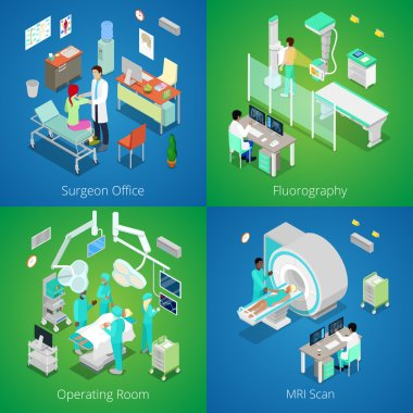 Isometric Hospital Interior. Medical MRI Scan, Operating Room with Doctors, Fluorography Process, Surgeon Office. Vector 3d flat illustration