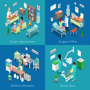 Isometric Hospital Interior. Doctor Appointment, Medical Laboratory, Dental Clinic, Surgeon Office. Vector 3d flat illustration