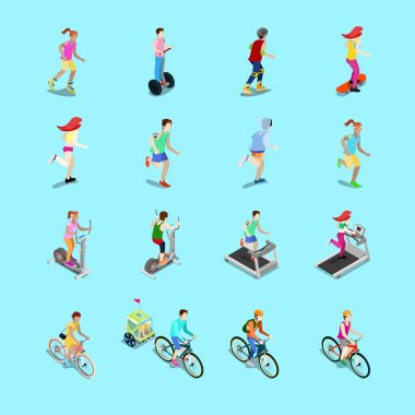 Isometric Sporting People Set. Running People, Cyclist on Bicycle, Woman Fitness, Woman on Skateboard, Man on Roller Skating. Vector 3d flat illustration