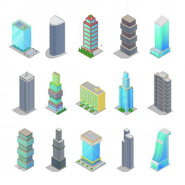 Isometric City Skyscraper Buildings. Modern Architecture Cityscape. Vector 3d flat illustration