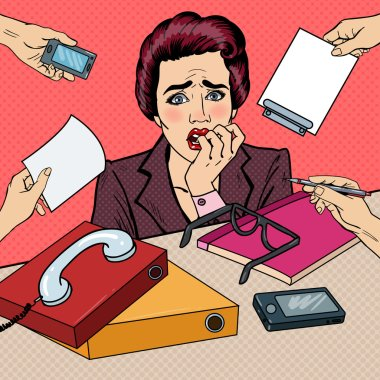 Pop Art Nervous Business Woman Biting Her Fingers at Multi Tasking Office Work. Vector illustration