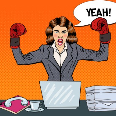 Pop Art Business Woman in Boxing Gloves at Multi Tasking Office Work. Vector illustration