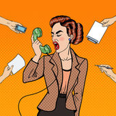 Photo Pop Art Aggressive Business Woman Screaming into the Phone at Multi Tasking Office Work. Vector illustration