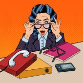 Photo Pop Art Stressed Business Woman at Multi Tasking Office Work. Vector illustration