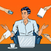 Photo Disappointed Pop Art Businessman with Laptop Throws Up His Hands at Multi Tasking Office Work. Vector illustration