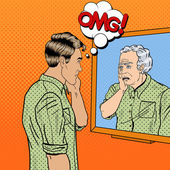 Fotografie Pop Art Shocked Man Looking at Older Himself in the Mirror. Vector illustration