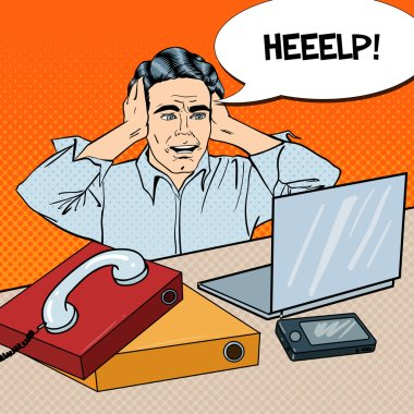 Pop Art Stressed Businessman at the Office Work with Phone and Laptop. Vector illustration