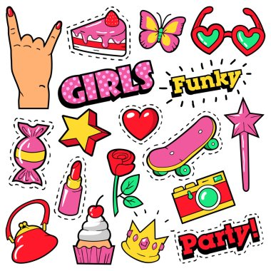 Fashion Girls Badges, Patches, Stickers - Cake, Hand, Heart, Crown and Lipstick in Pop Art Comic Style