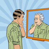 Fotografie Pop Art Shocked Man Looking at Older Himself in the Mirror. Vector illustration