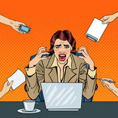 Photo Pop Art Frustrated Stressed Business Woman Screaming at Multi Tasking Office Work. Vector illustration