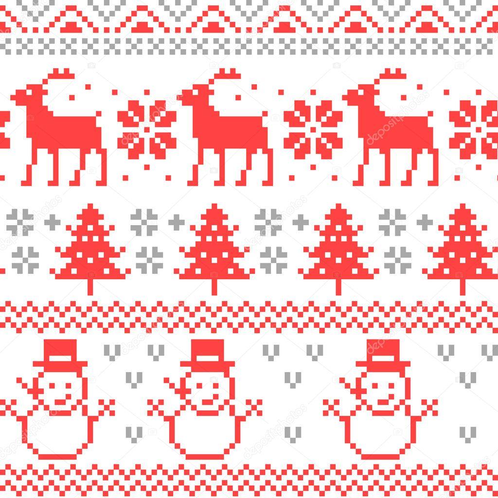 Feliz Navidad tradicional escandinavo punto Pixel de patrones sin ...