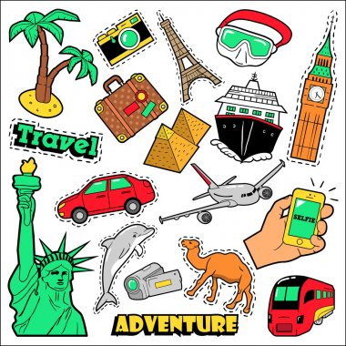 Fashion Travel Badges, Patches, Stickers. Architecture, Adventure, World Cruise in Comic Style. Vector illustration