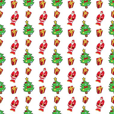 Merry Christmas and Happy New Year Seamless Pattern with Christmas Gifts and Santa Claus. Winter Holidays Wrapping Paper. Vector background