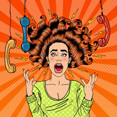 Pop Art Aggressive Furious Screaming Woman with Handset. Vector illustration