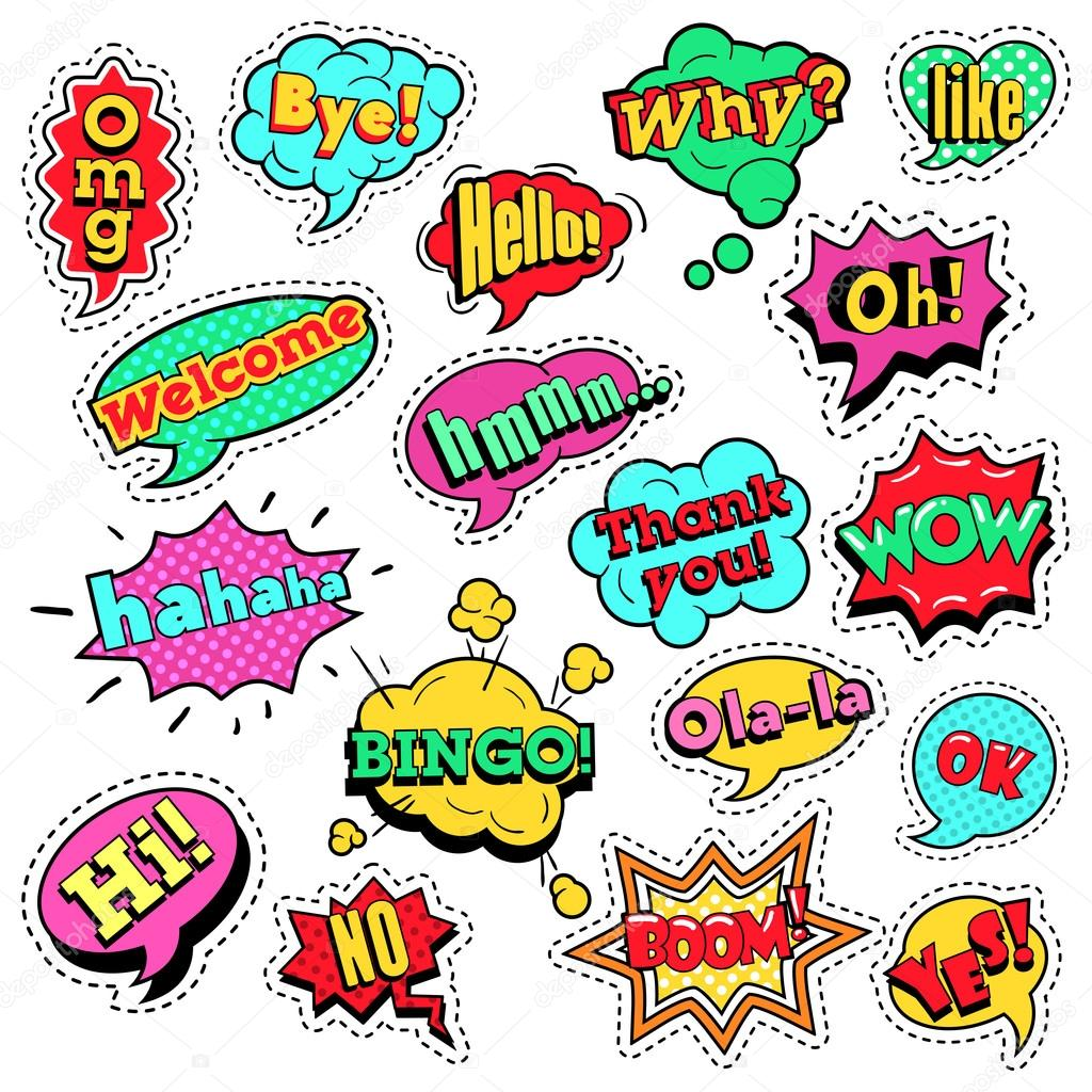 Fashion Badges, Patches, Stickers in Pop Art Comic Speech Bubbles Set with  Halftone Dotted