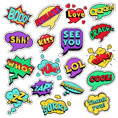Fashion Badges, Patches, Stickers in Pop Art Comic Speech Bubbles Set with Halftone Dotted Cool Shapes with Expressions Cool Bang Zap Lol. Vector Retro Background