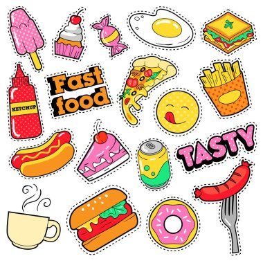 Fast Food Badges, Patches, Stickers - Burger Fries Hot Dog Pizza Donut Junk Food in Comic Style. Vector Doodle