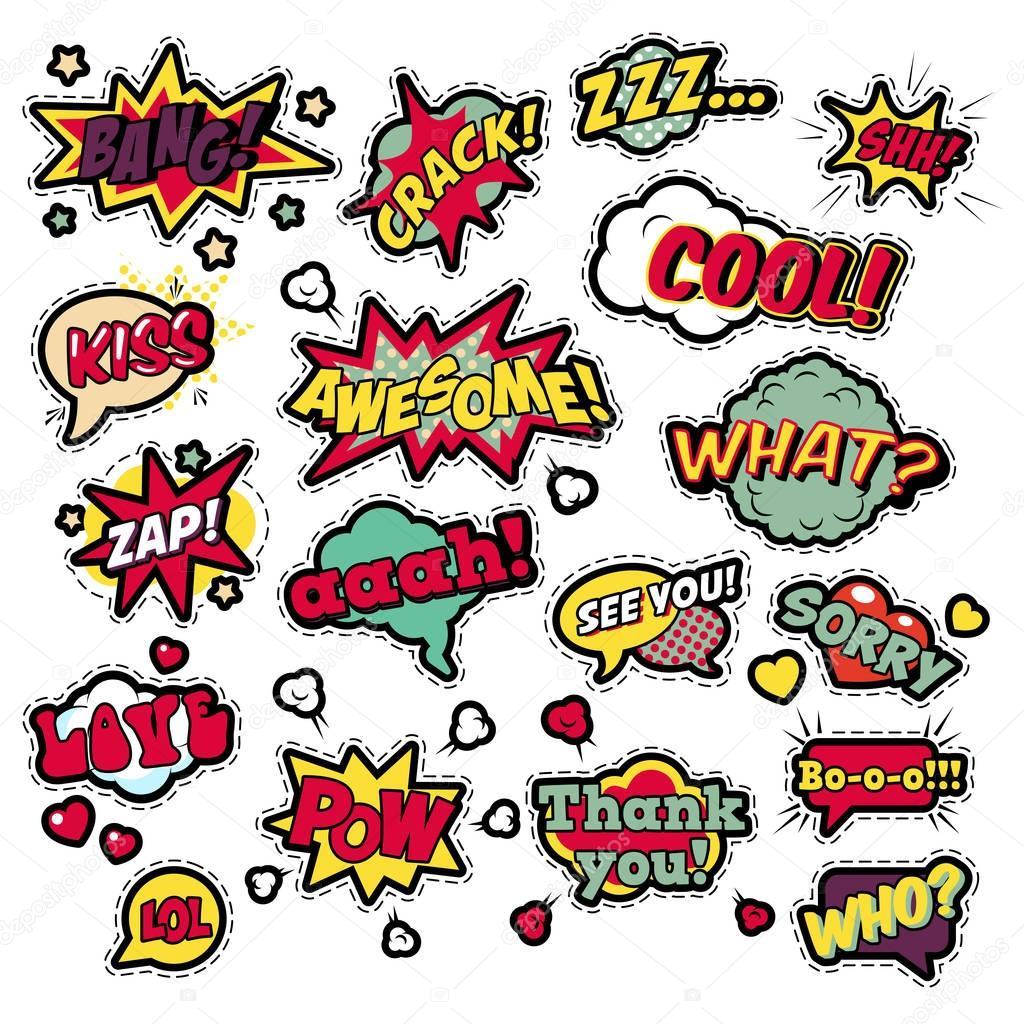 Mode pour les badges patchs stickers en pop art comique discours bulles sertie de demi teinte