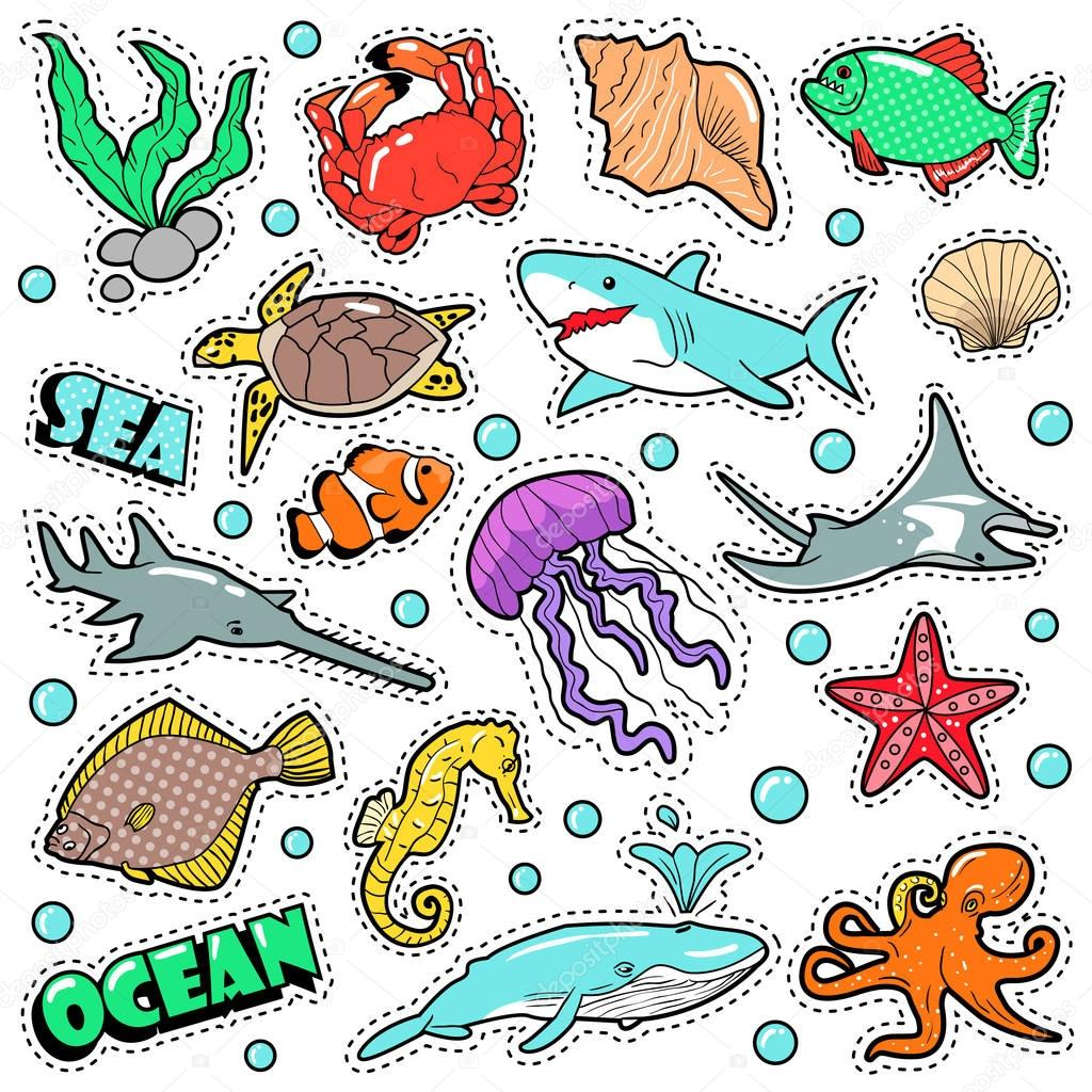 Marine Life Badges, Patches, Stickers - Fish Shark Turtle Octopus in Comic Style. Sea and Ocean Nature. Vector illustration
