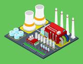 Fotografie Isometrische Gebäude Industriebetrieb Pflanze mit Rohren. Flache 3d Vektor Urban City