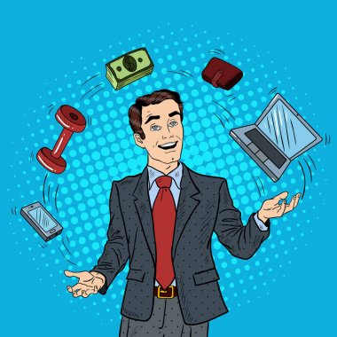 Pop Art Successful Businessman Juggling Computer, Phone and Money. Vector illustration