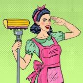 Fotografie Pop Art mladá žena důvěru hospodyně úklid domu s mopem. Vektorové ilustrace