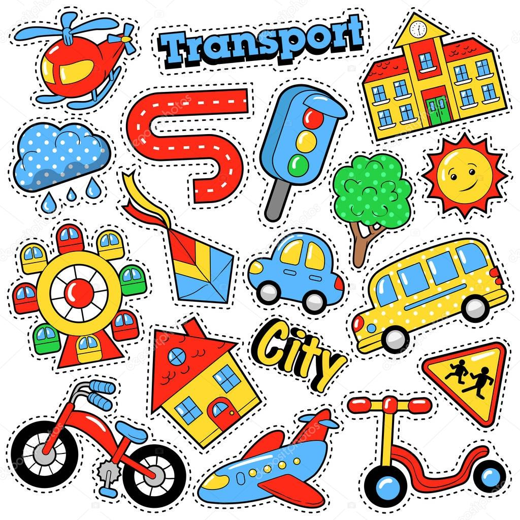 Kids Fashion Badges Patches Stickers In Comic Style Education City