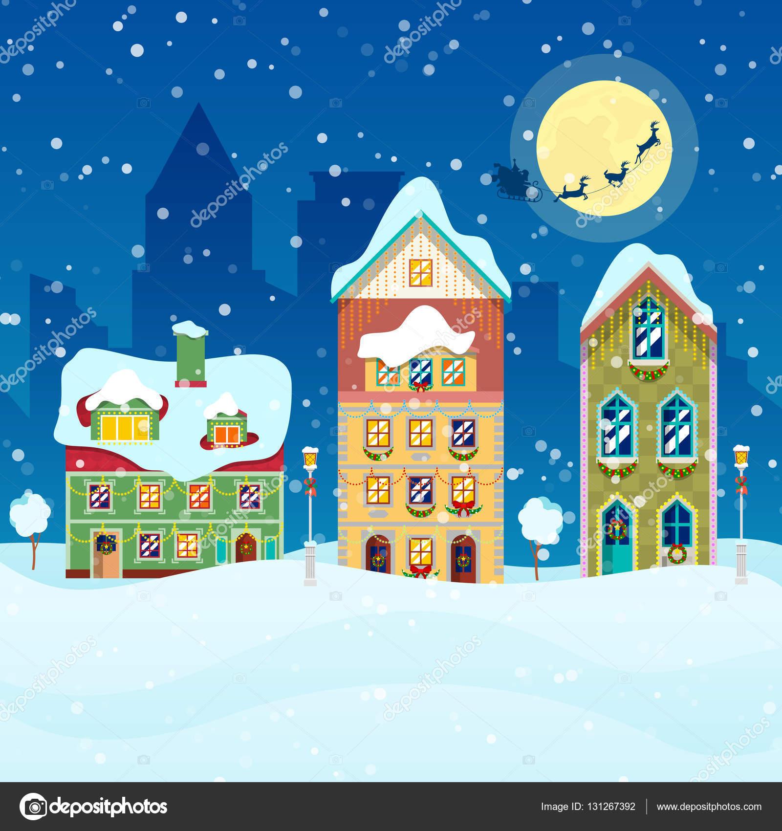 降雪家サンタとトナカイ グリーティング カード ベクトルの背景と