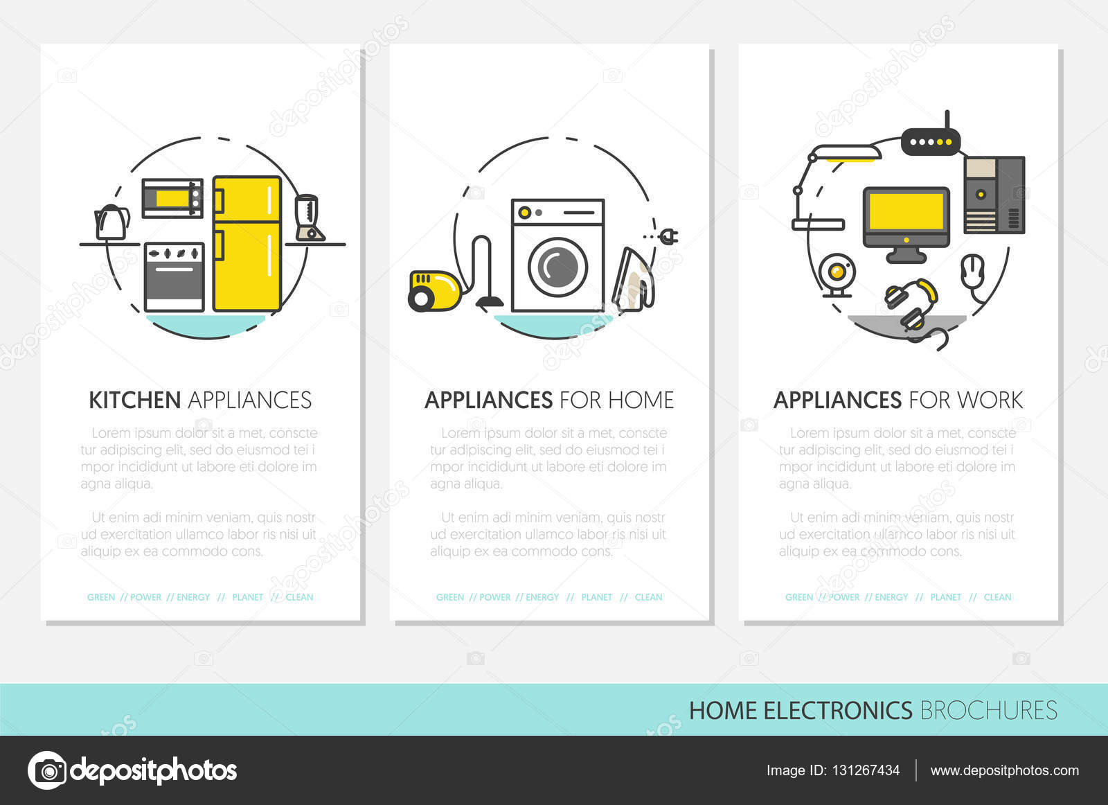 Home Electronics Appliances Business Brochures Template in Thin Line ...