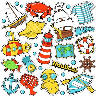 Nautical Marine Life Stickers, Badges, Patches set for Prints and Textile with Boats and Sea Elements. Vector Doodle in Comic Style