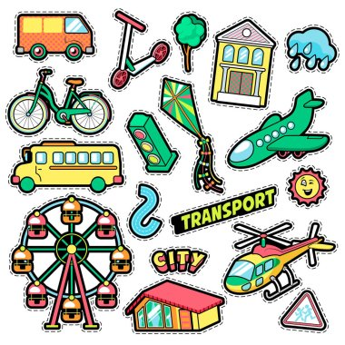 Kids Fashion Badges, Patches, Stickers in Comic Style Education City Transport Theme with Bicycle, Cars and Bus. Vector Retro Background