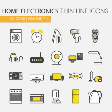 Home Electronics Appliances Thin Line Vector Icons Set with TV set, Refrigerator and Coffee Maker