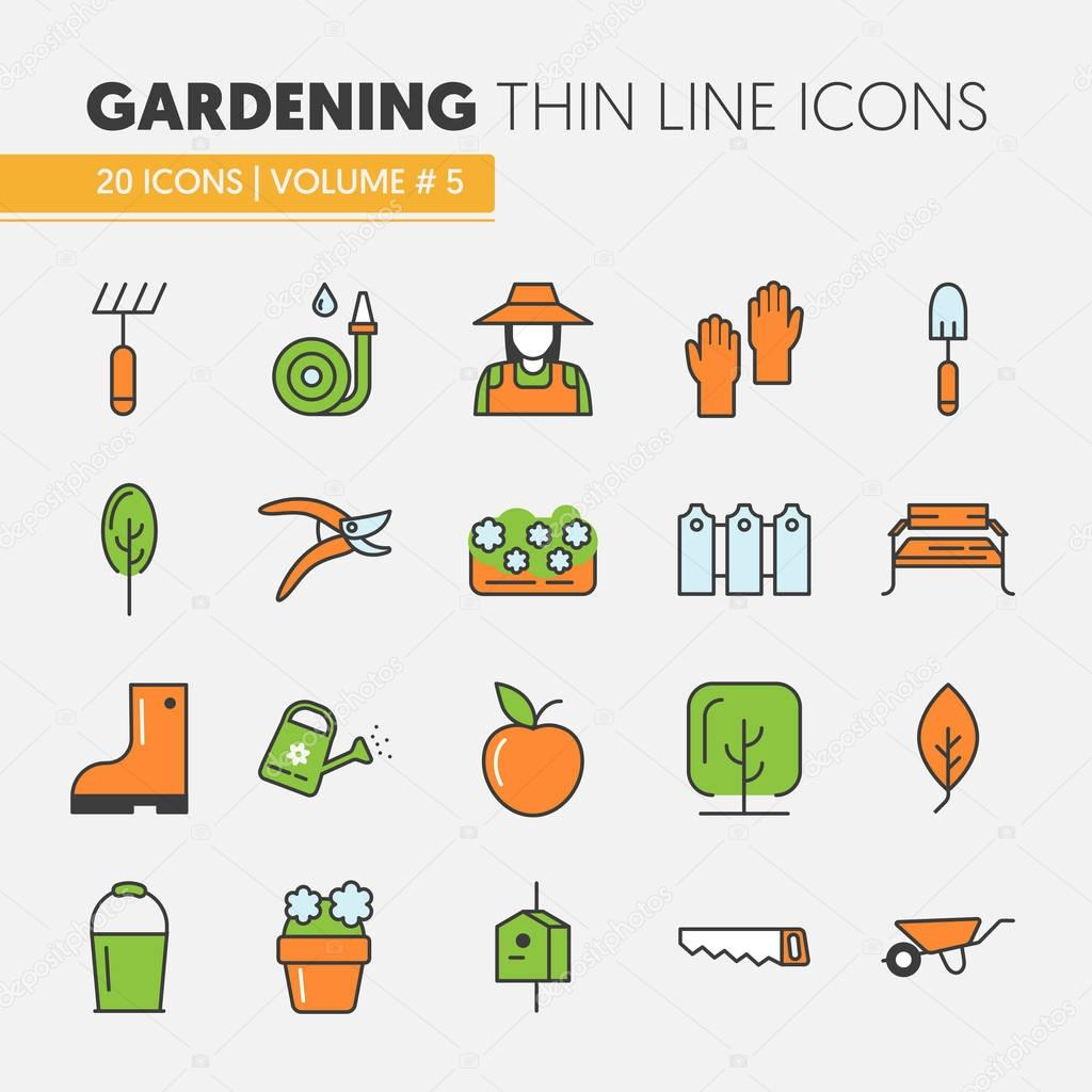 Gardening Thin Line Vector Icons Set with Flowers and Gardener