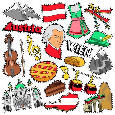 Austria Travel Scrapbook Stickers, Patches, Badges for Prints with Alps, Cake and Austrian Elements. Comic Style Vector Doodle