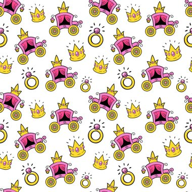Little Girl Princess Seamless Background with Queen Coach, Crowns and Rings. Vector Pattern