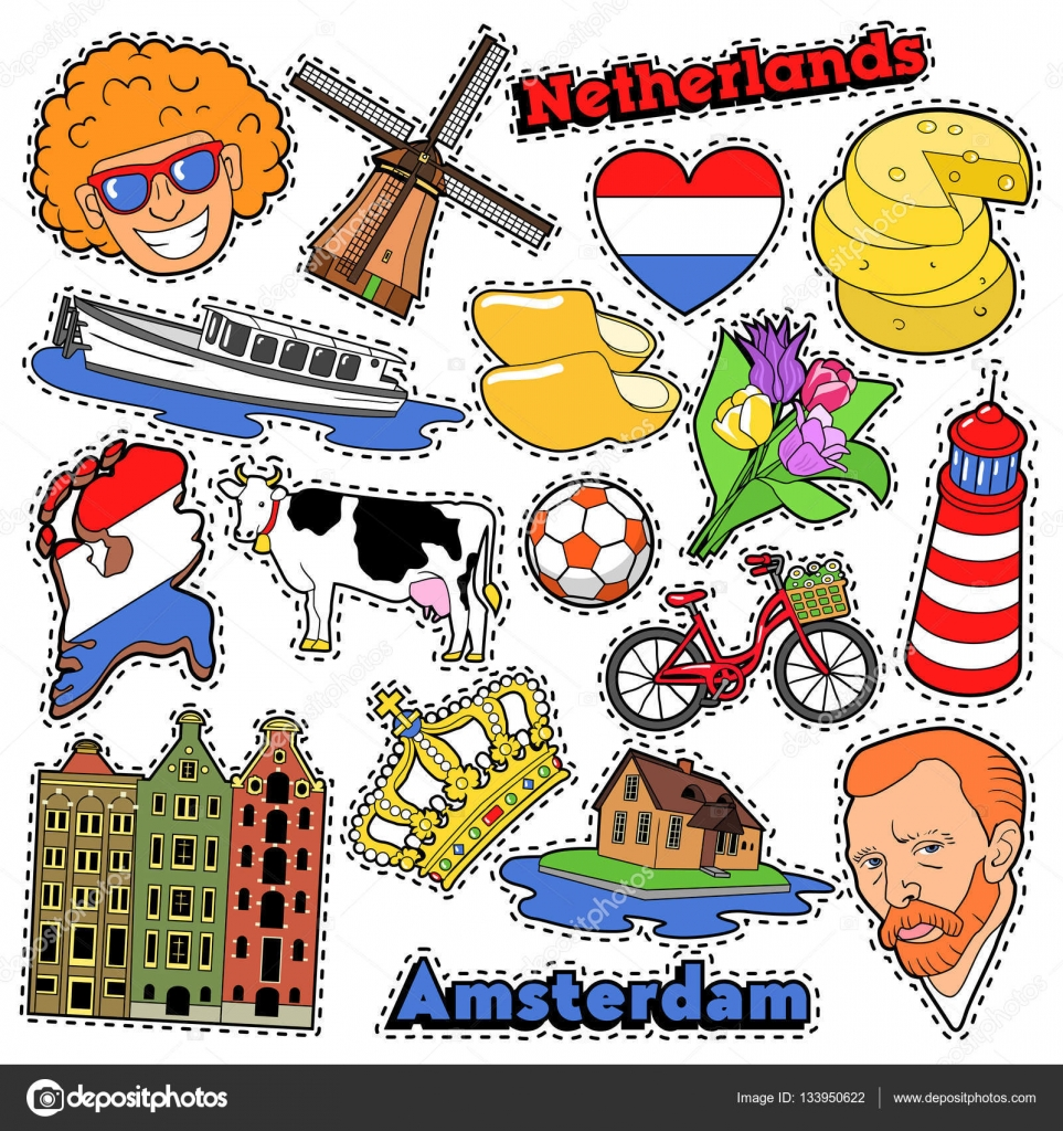 netherlands travel scrapbook stickers patches badges for prints