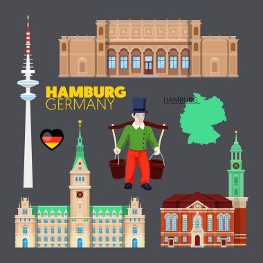 Hamburg Germany Travel Doodle with Hamburg Architecture, Hummel and Flag. Vector illustration