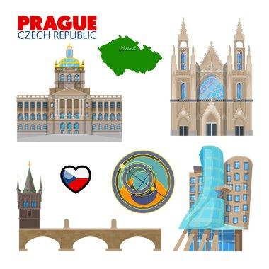 Prague Czech Republic Travel Doodle with Prague Architecture, Charles Bridge and Flag. Vector illustration