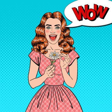 Pop Art Excited Beautiful Woman with Daisy Flower. Vector illustration