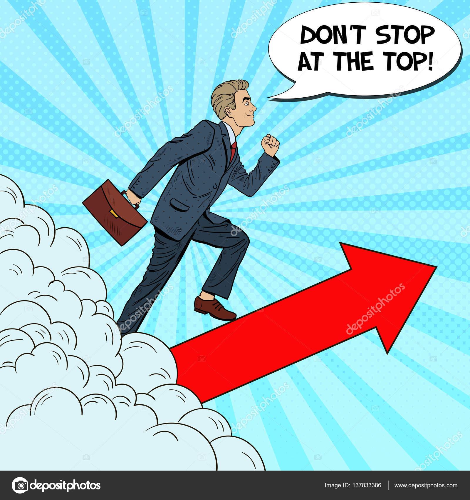 Arte pop próspero hombre de negocios caminando hacia arriba a través ...