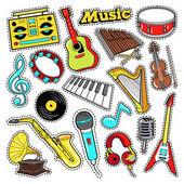 Musikinstrumente Doodle für Scrapbook, Aufkleber, Patches, Abzeichen mit Gitarre, Drum und Vinyl. Vektor-Illustration
