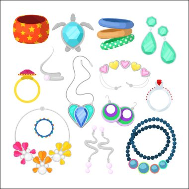 Woman Fashion Accessories Set with Rings and Jewelry. Vector illustration