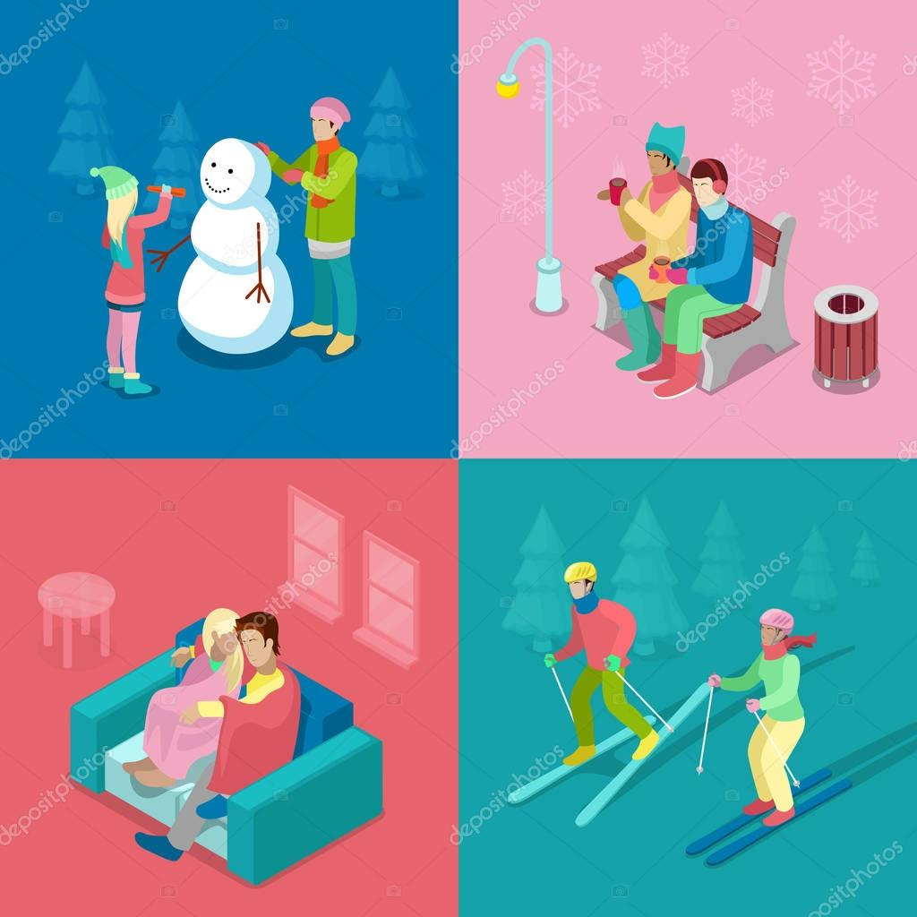 Isometric Winter People. Skiing Couple, Girl and Boy Making Snowman, Walking Outdoor. 3d flat vector illustration