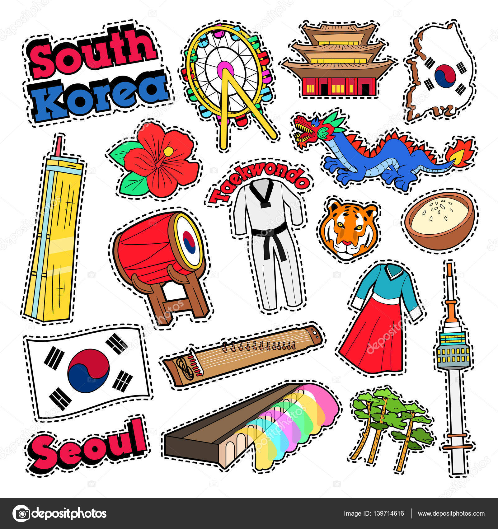 Seoul korea stock vectors royalty free seoul korea illustrations south korea travel elements with architecture and taekwondo vector doodle vector graphics biocorpaavc Image collections