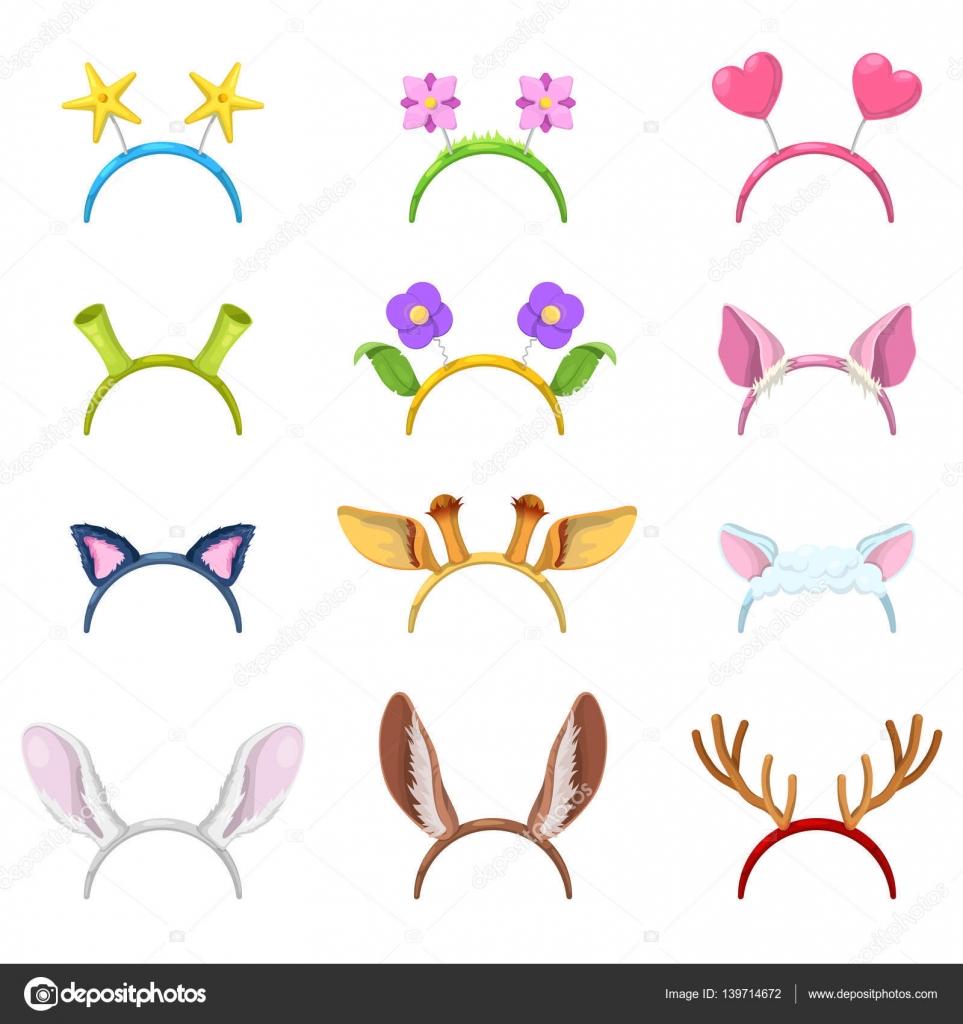動物マスク、豚、猫、ウサギの耳の分離のコレクションです。ベクトル図