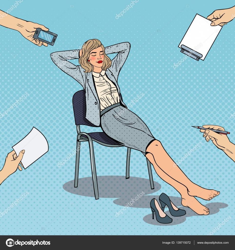 Femme Daffaires Fatigu De Pop Art Dtente Sur Chaise Illustration Vectorielle Image